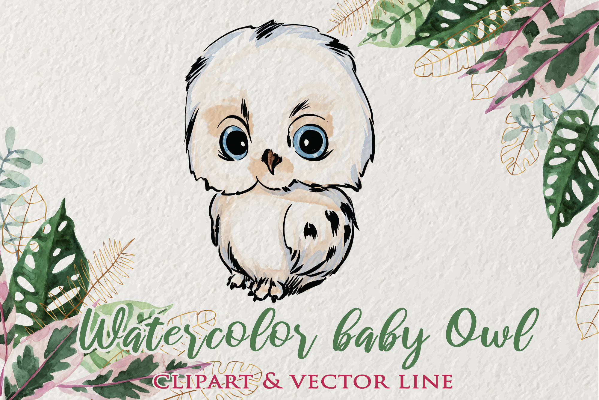 Watercolor Baby Owl Clipart SVG File