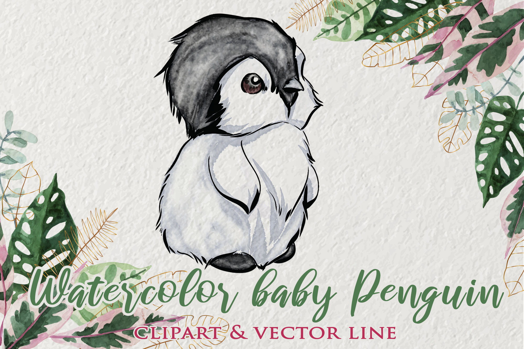 Watercolor Baby Penguin Clipart SVG File