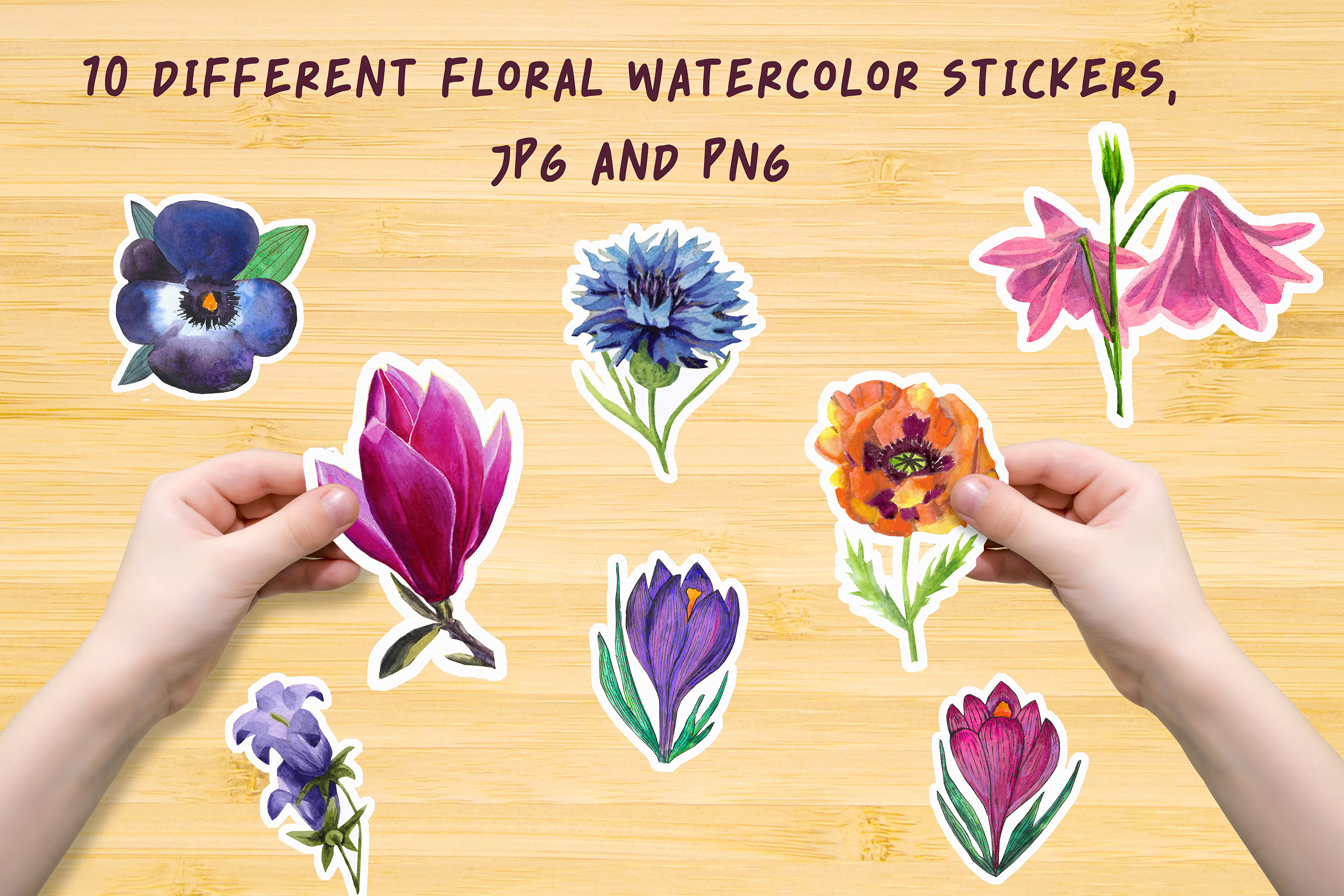 10 Different Floral Watercolor Stickers SVG File