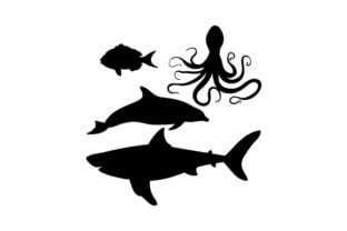 Underwater Animal Silhouettes Animals Craft Cut File By Creative Fabrica Crafts