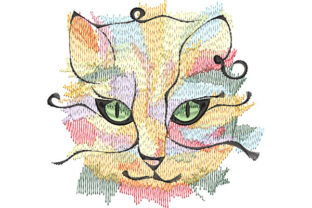 Print on Demand: Abstract Cat Portrait Cats Embroidery Design By Dizzy Embroidery Designs