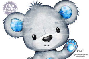 Print on Demand: Blue Bear with Hand Up Waving Clip Art Graphic Illustrations By clipArtem