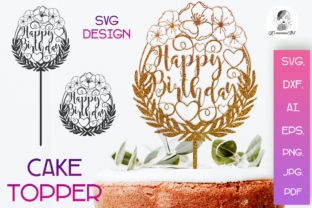 Print on Demand: Cake Toppers SVG, Happy Birthday SVG Graphic Crafts By Komanna_Art