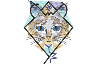 Print on Demand: Cat Portrait in a Frame Cats Embroidery Design By Dizzy Embroidery Designs