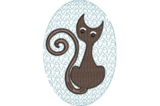 Print on Demand: Cat in Oval Background Cats Embroidery Design By Dizzy Embroidery Designs