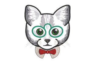 Print on Demand: Classy Cat with Bow Tie Cats Embroidery Design By Dizzy Embroidery Designs