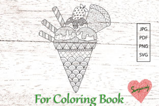 Ice Cream for Coloring Page. Graphic Coloring Pages & Books Adults By somjaicindy