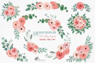 Print on Demand: Pink Floral Wedding Invitation Bouquets Graphic Print Templates By CreartGraphics