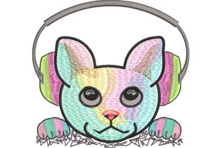Print on Demand: Rave Kitty Listening to Music Cats Embroidery Design By Dizzy Embroidery Designs