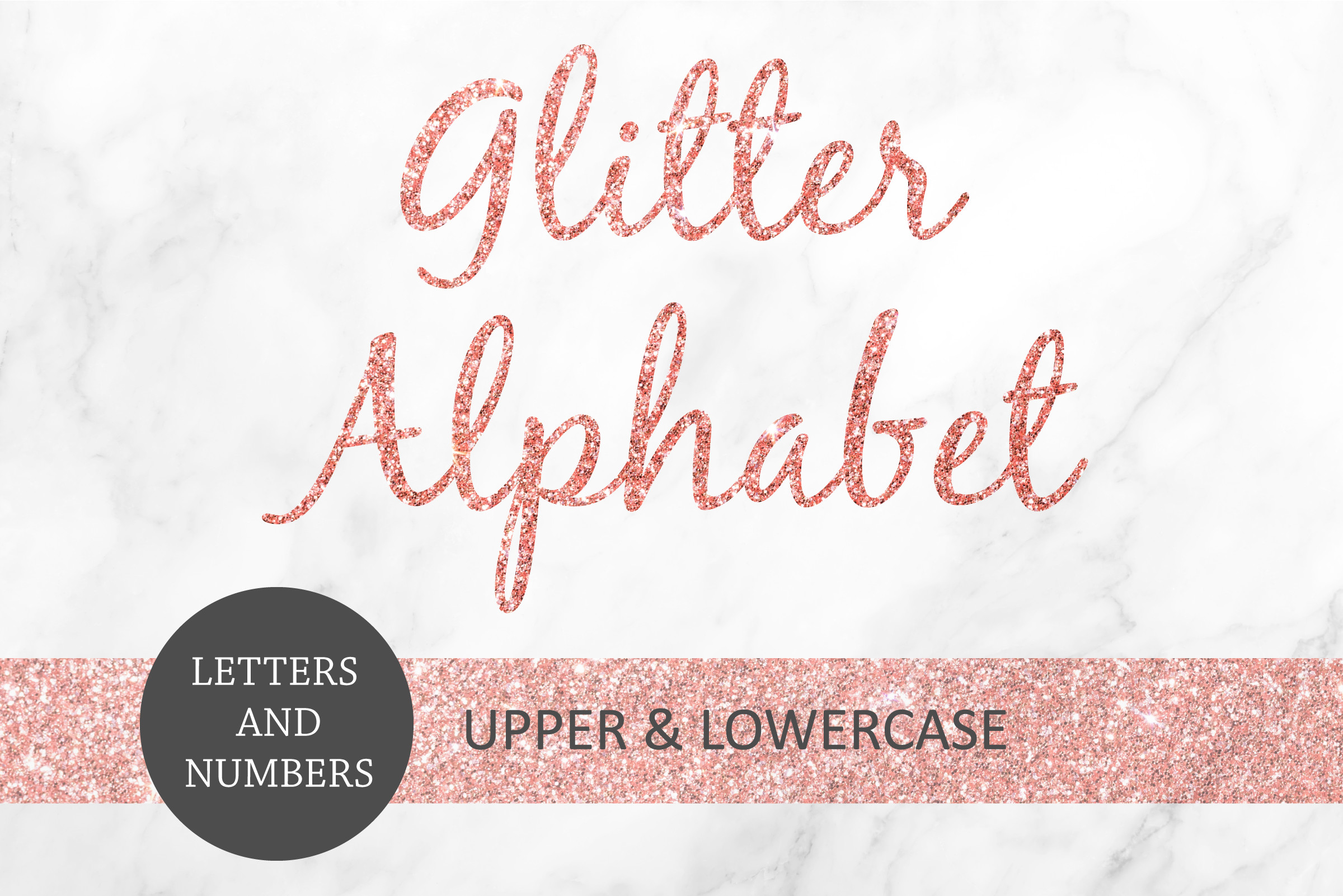 Rose Gold Glitter Letters and Numbers SVG File