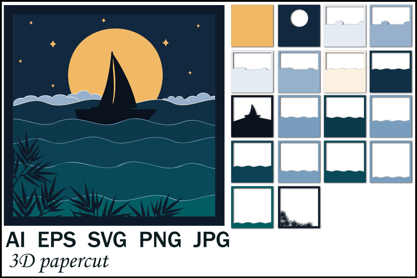 Sailboat in the Night Sky, Papercut SVG SVG File
