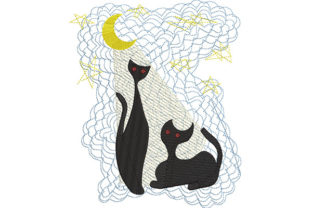 Print on Demand: Spooky Cats in the Moonlight Cats Embroidery Design By Dizzy Embroidery Designs