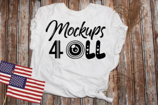 Print on Demand: T-shirt Mockup, White , 4of Jully Flag Graphic Product Mockups By Art Studio