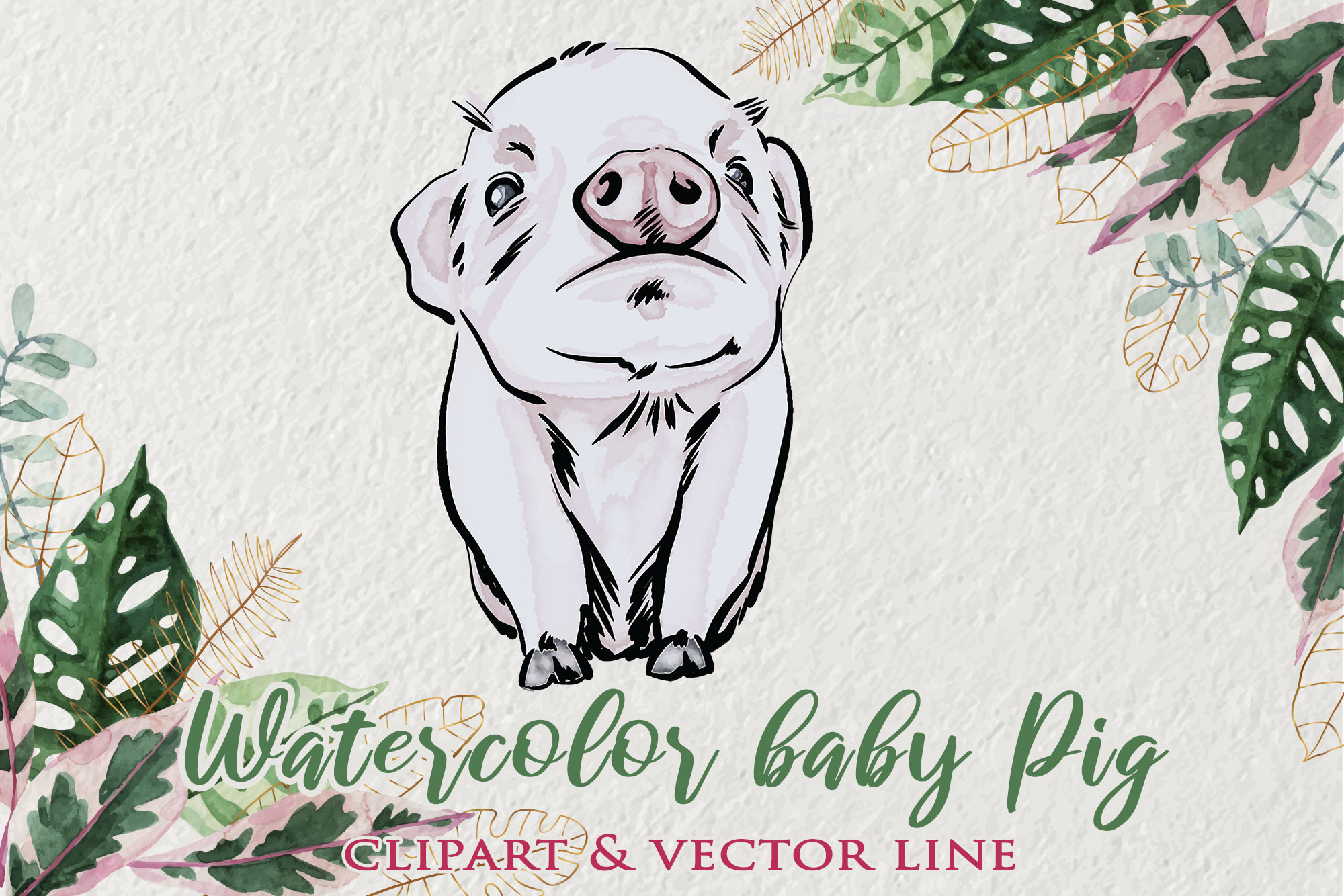 Watercolor Baby Pig Clipart SVG File