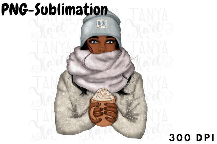 Winter African American Girl with Coffee SVG File