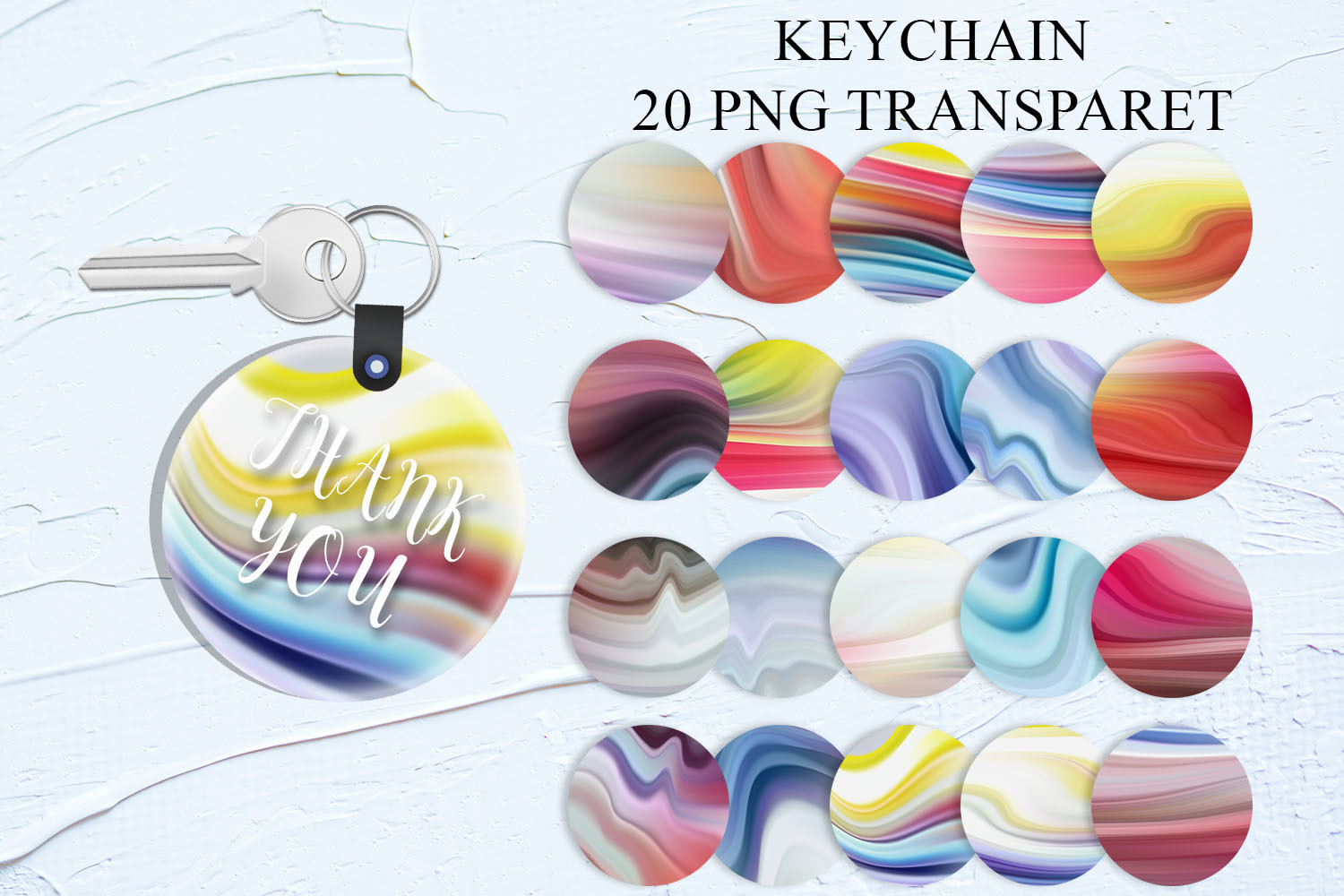 Marble Colorful Sublimation Keychain SVG File