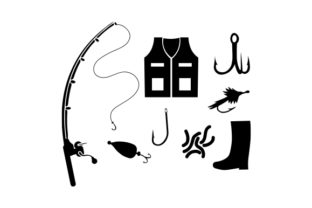 Fishing Equipment Silhouettes Hobbies Craft Cut File By Creative Fabrica Crafts