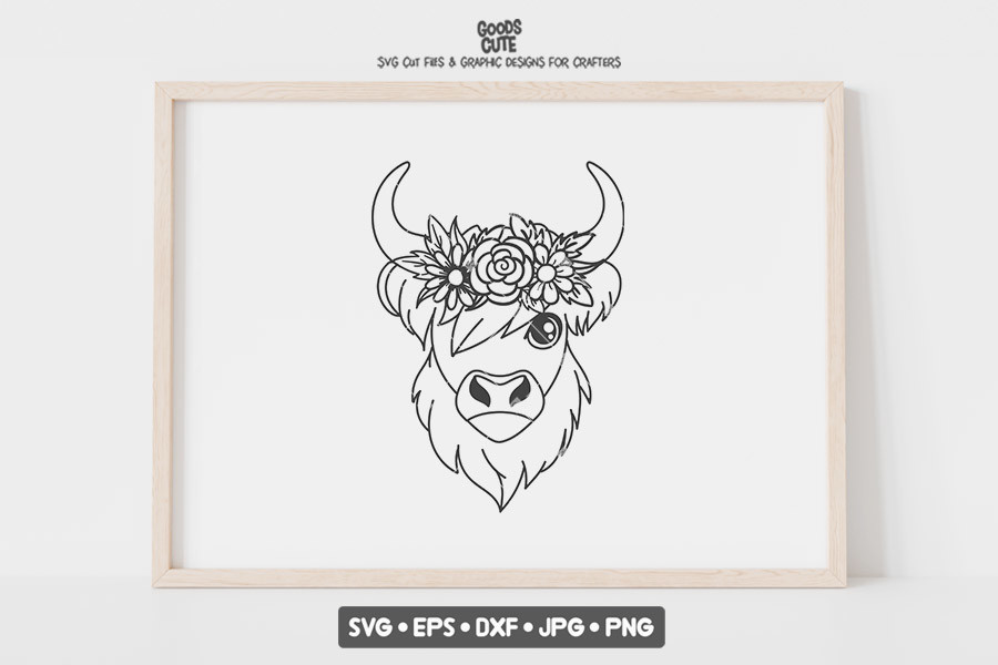 Highland Cow with Flower Crown SVG File