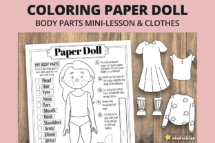 Print on Demand: Jane Coloring Paper Doll Graphic Teaching Materials By PrintablesCC 1