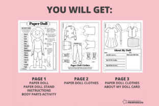 Print on Demand: Jane Coloring Paper Doll Graphic Teaching Materials By PrintablesCC 2