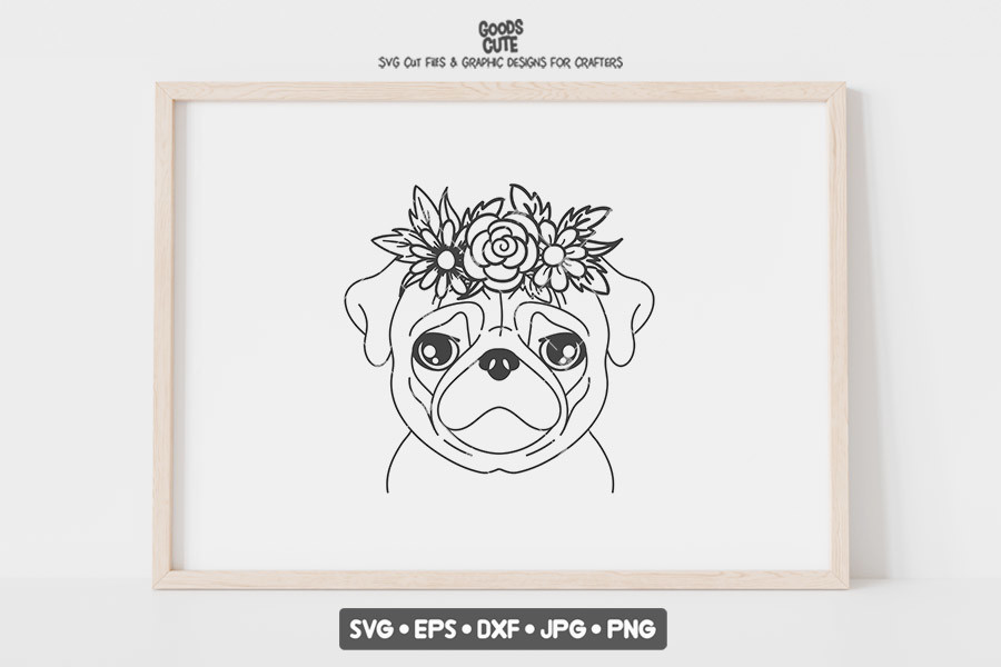 Pug with Flower Crown SVG File