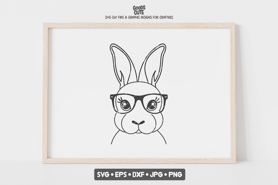 Rabbit with Glasses SVG File