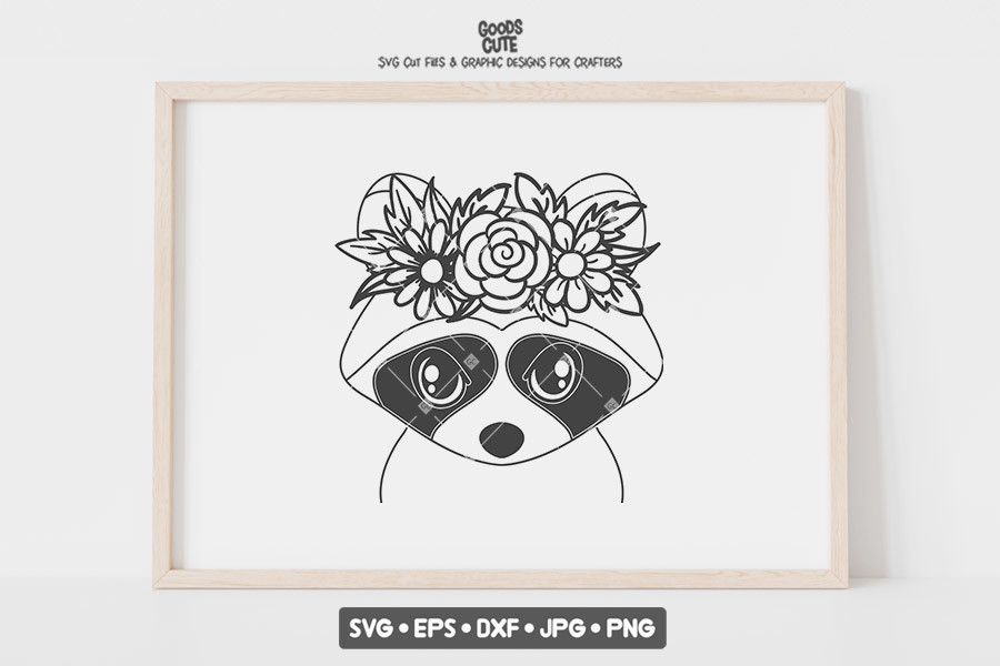 Raccoon with Flower Crown SVG SVG File