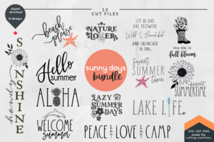 Print on Demand: Sunny Days Summer SVG Cut File Bundle Graphic Crafts By Lettershapes