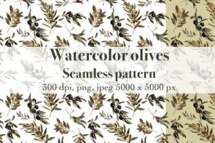 Watercolor Olives Seamless Pattern Graphic Patterns By Arte de Catrin