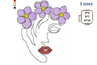 Woman Face with Lilac Flowers Beauty Embroidery Design By LaceArtDesigns