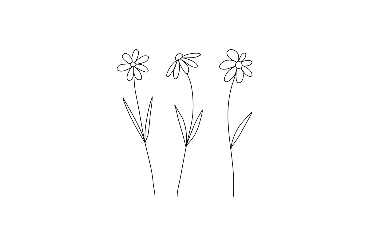 Beautiful Abstract Three Flowers Line SVG File