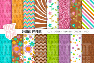 Cute Easter Digital Papers Graphic Backgrounds By Mutchi Design