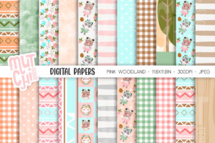 Enchanted Woodland Digital Papers Graphic Patterns By Mutchi Design
