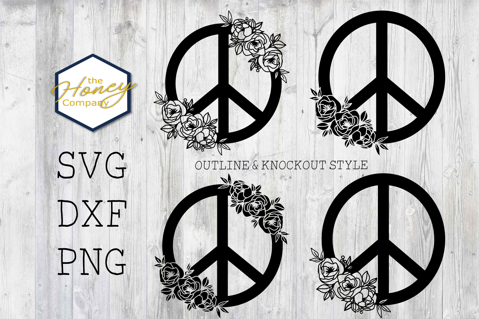 Hand Drawn Peony Peace Sign SVG PNG... SVG File