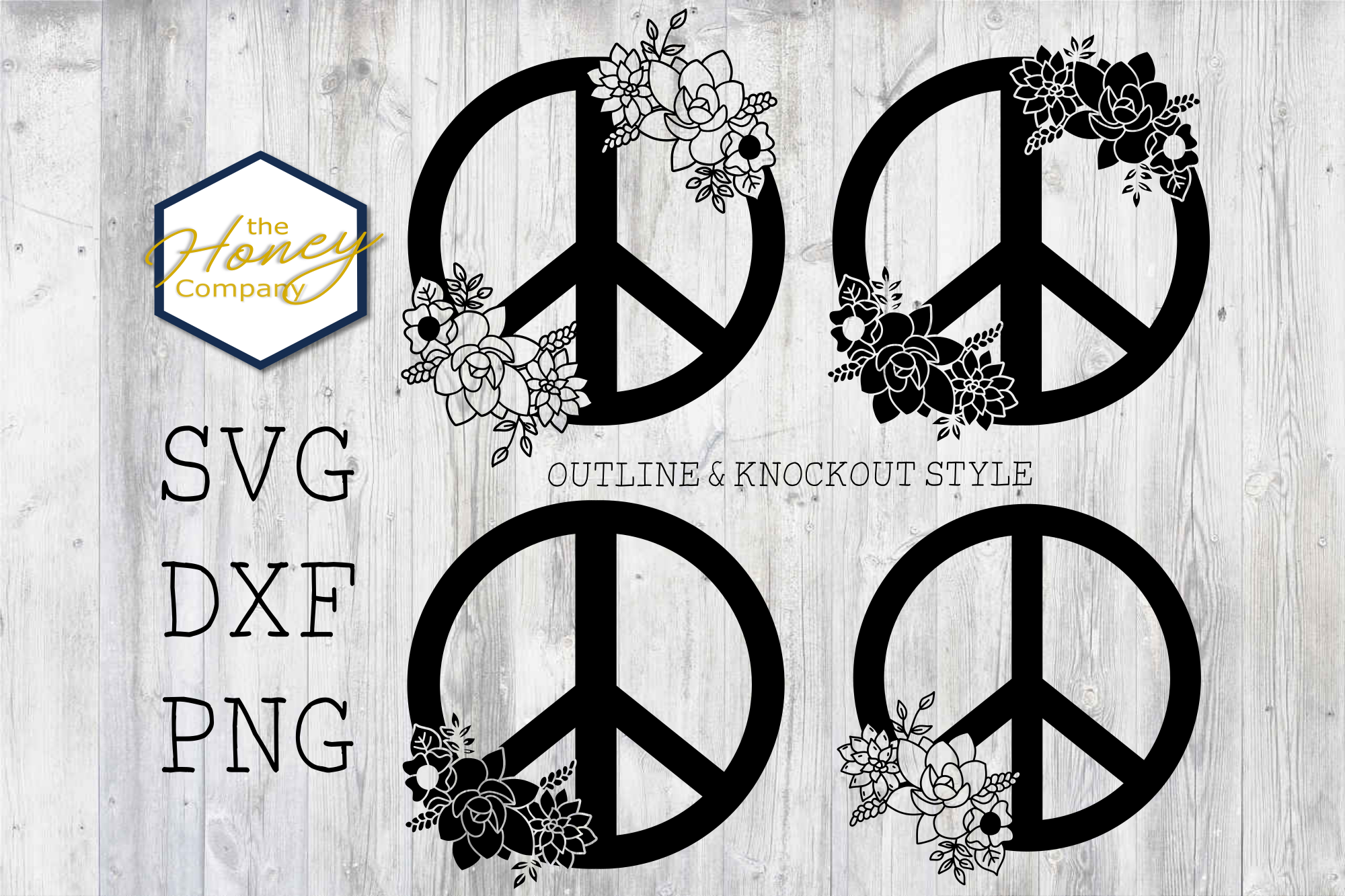 Hand Drawn Succulent Peace Sign SVG PNG SVG File