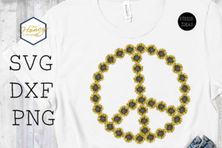 Sunflower Peace Sign SVG PNG DXF Flower Graphic Crafts By The Honey Company