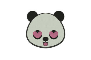 Tongue out Panda Face Baby Animals Embroidery Design By DigitEMB