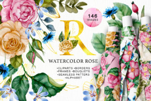 Print on Demand: Watercolor Flowers & Golden Alphabet Graphic Illustrations By Red Ink 1