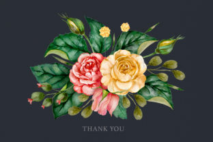 Print on Demand: Watercolor Flowers & Golden Alphabet Graphic Illustrations By Red Ink 12