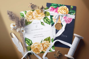 Print on Demand: Watercolor Flowers & Golden Alphabet Graphic Illustrations By Red Ink 2