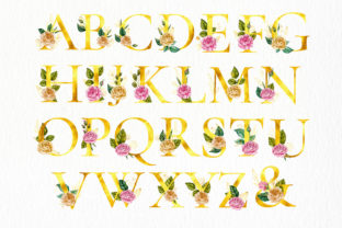 Print on Demand: Watercolor Flowers & Golden Alphabet Graphic Illustrations By Red Ink 3