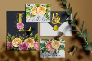 Print on Demand: Watercolor Flowers & Golden Alphabet Graphic Illustrations By Red Ink 4