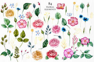 Print on Demand: Watercolor Flowers & Golden Alphabet Graphic Illustrations By Red Ink 5