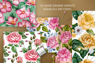 Print on Demand: Watercolor Flowers & Golden Alphabet Graphic Illustrations By Red Ink 6