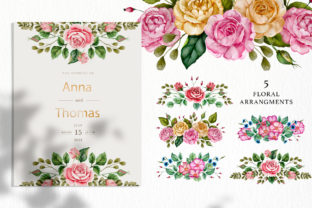 Print on Demand: Watercolor Flowers & Golden Alphabet Graphic Illustrations By Red Ink 8