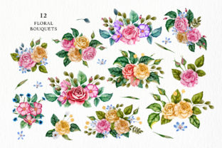 Print on Demand: Watercolor Flowers & Golden Alphabet Graphic Illustrations By Red Ink 9