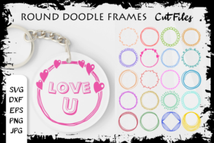 Print on Demand: Round Keychain Doodle Frame Borders Graphic Crafts By Prawny