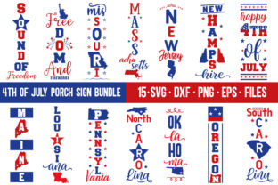 Print on Demand: 4th of July Porch Sign Bundle Graphic Print Templates By Designdealy 1