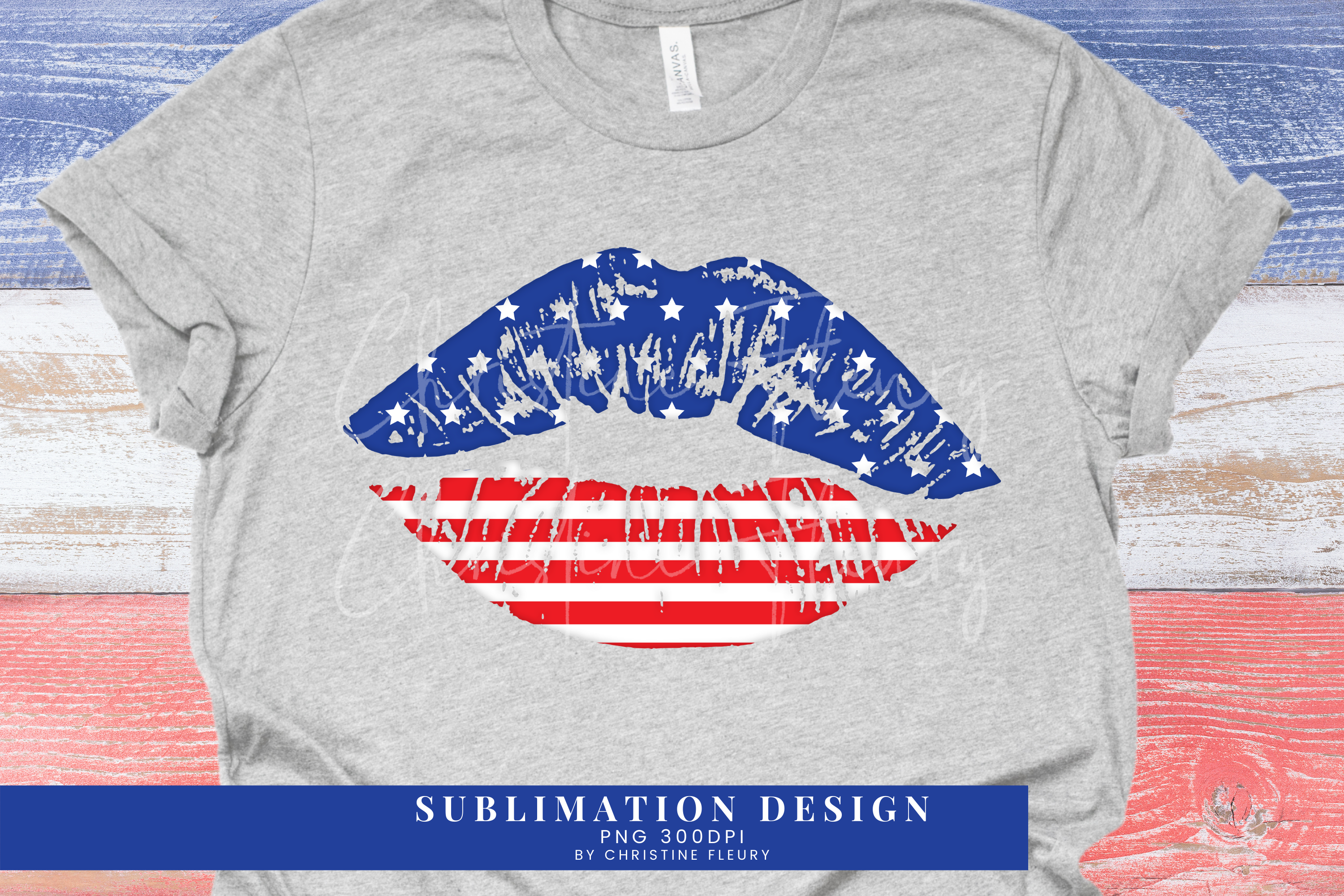 4th of July Lips USA Flag Sublimation SVG File