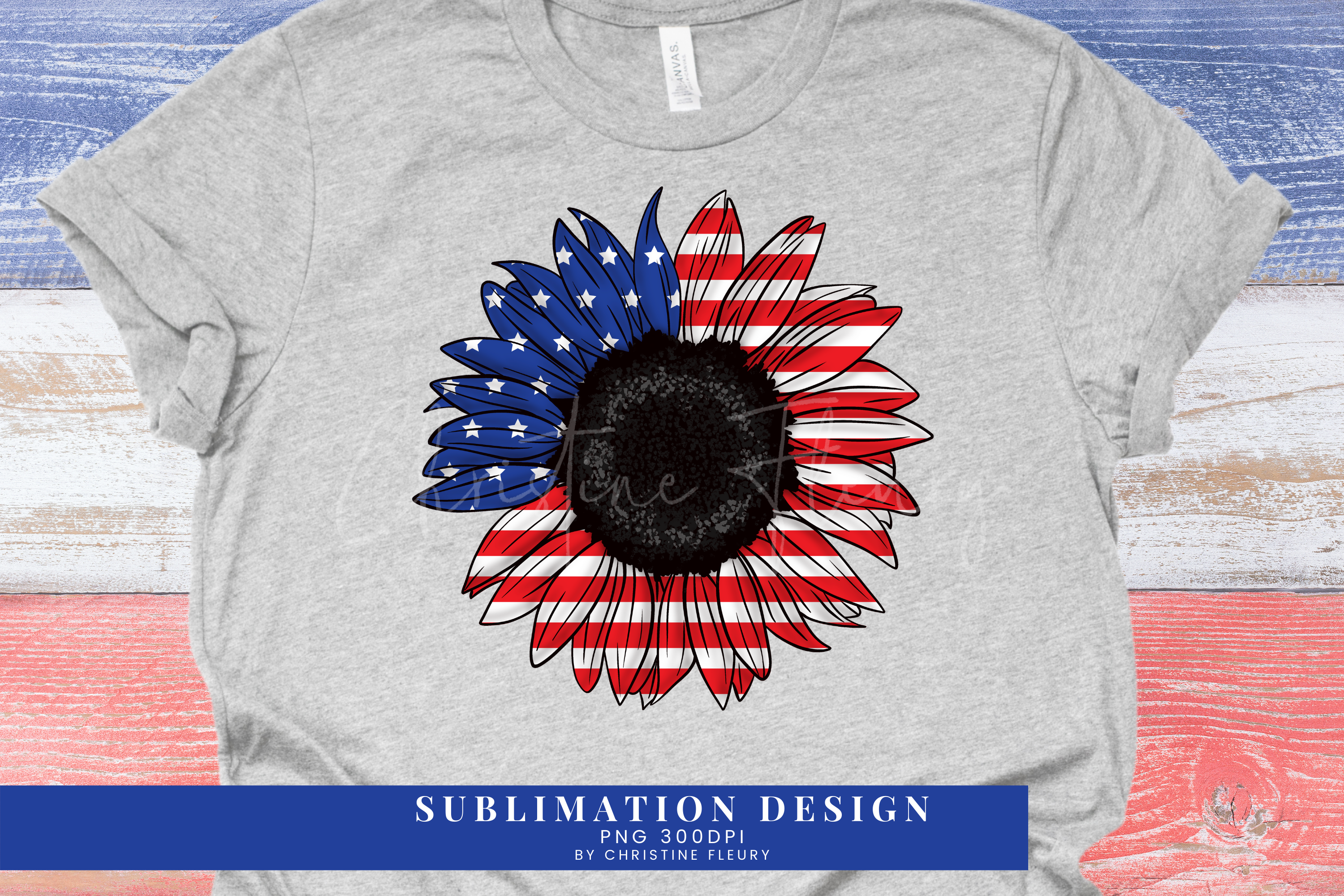 4th of July Sunflower American Flag SVG File